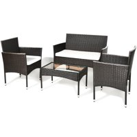 Costway 4-piece Outdoor Patio PE Rattan Wicker Table Shelf Sofa Furniture Set With Cushion