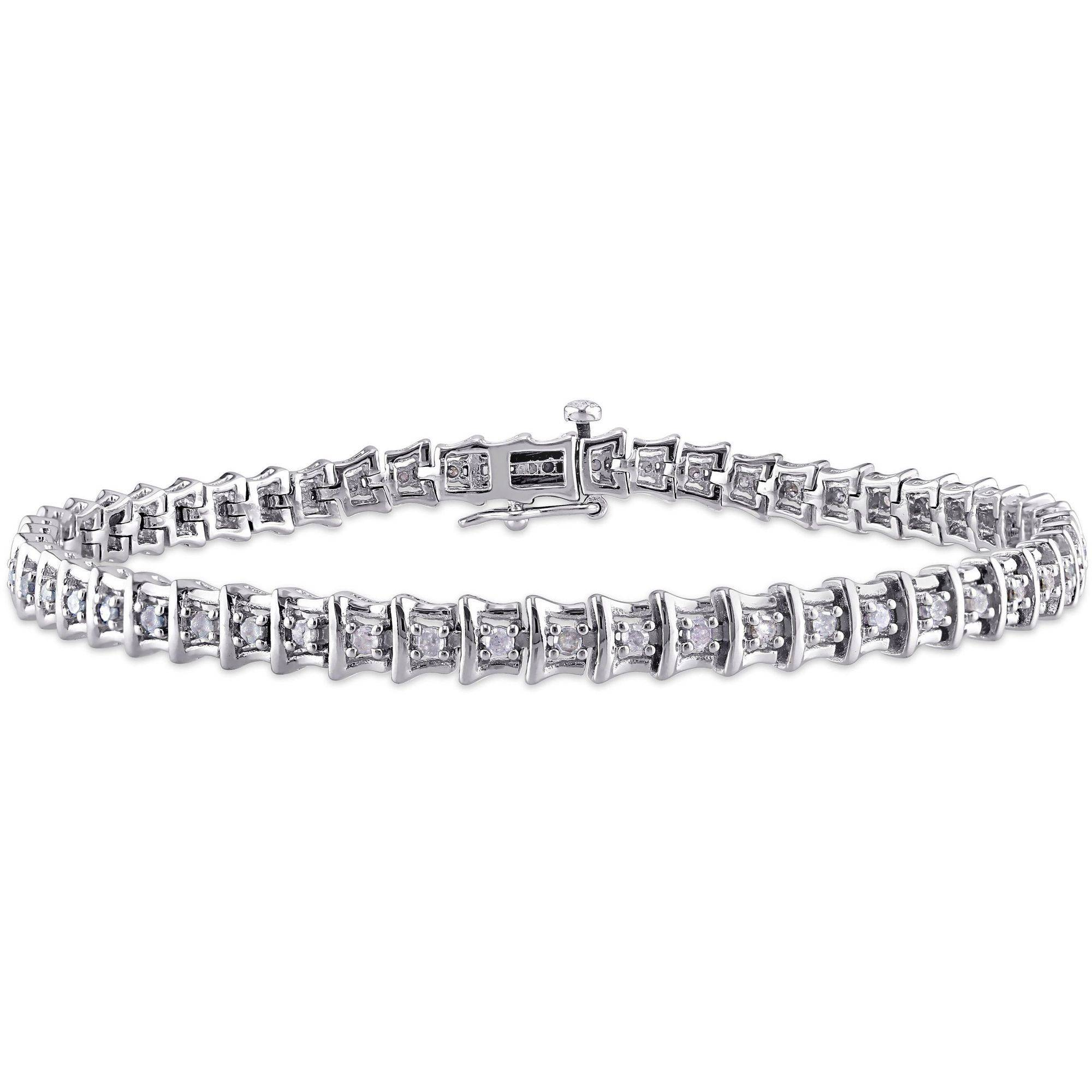 "Miabella 1 Carat T.W. Diamond Sterling Silver Tennis Bracelet, 7.25"" by Miabella"