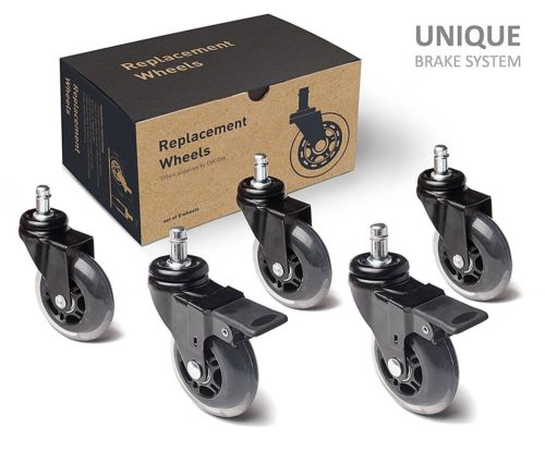 Delicieux Office Chair Caster Wheels Replacement Set Of 5 Heavy Duty U0026 Safe With  Brakes