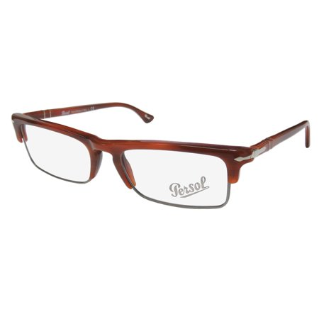 New Persol 3049-V Mens Designer Full-Rim Brown / Gray Hand Made Italian High Quality Frame Demo Lenses 52-18-140 (Persol Frames Men)