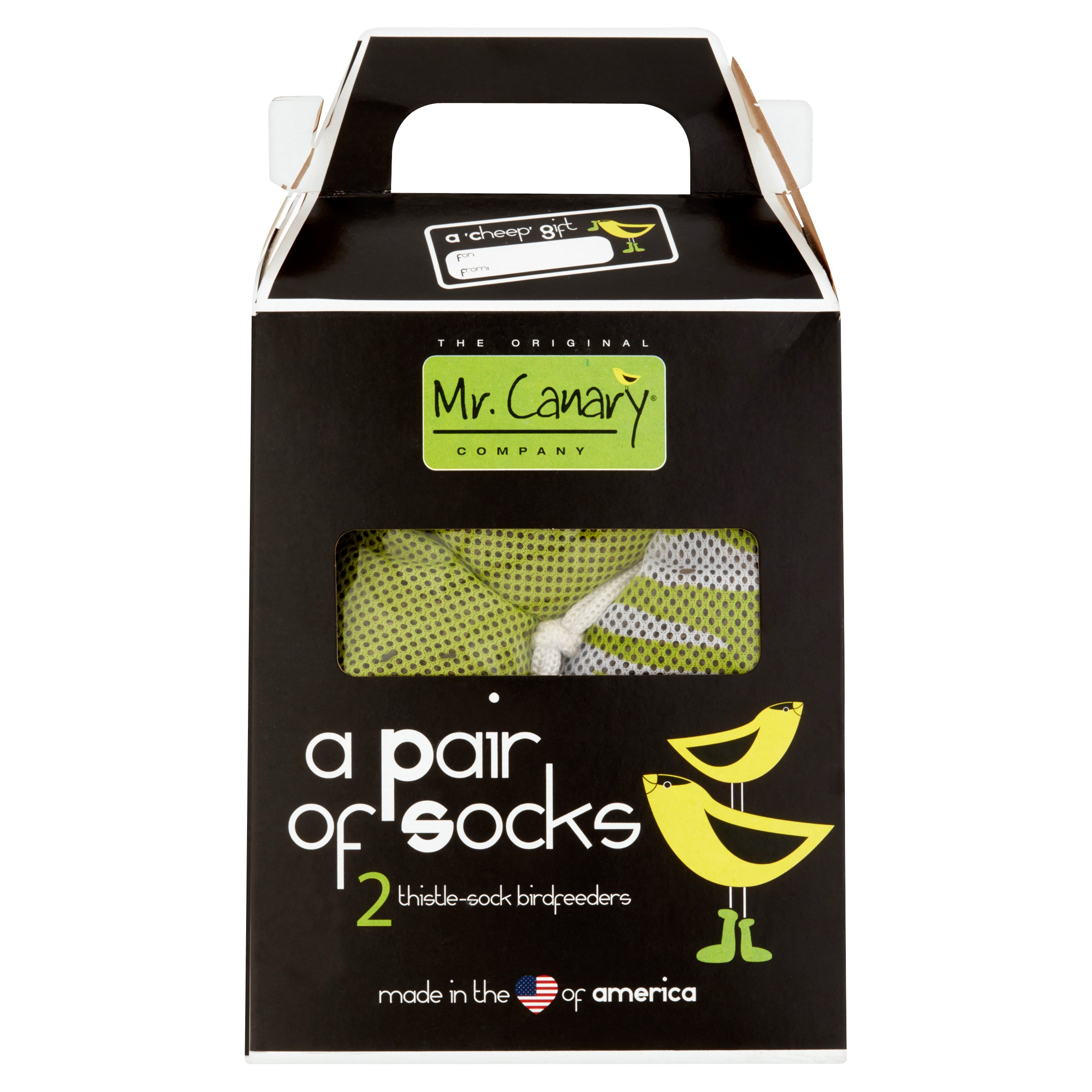 MR CANARY THISTLE SOCK FEEDERS 'PAIR OF SOCKS'