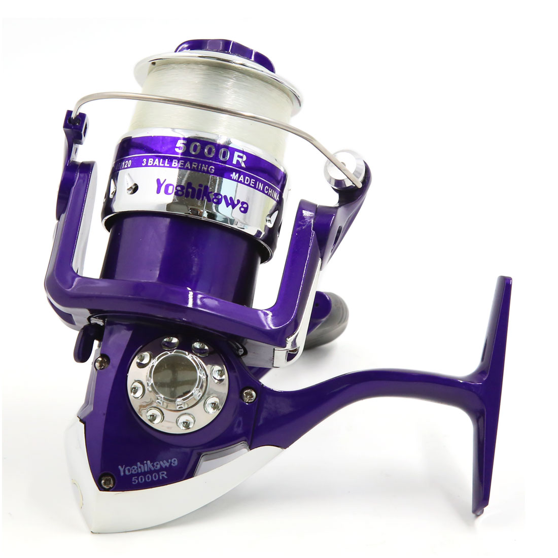 5000R 4.7:1 Gear Ratio 3 Ball Bearings Metal Fishing Spinning Reel Purple Sliver Tone