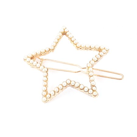 Lady Metal Five-pointed Star Shape Faux Pearl Inlaid Hair Clip Barrette