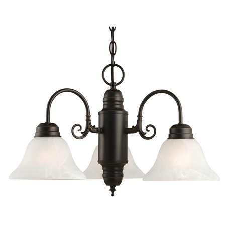 Design House 514463 Millbridge Traditional 3-Light Indoor Dimmable Chandelier with Alabaster Glass Shades for Entryway Foyer Dining Room, Oil Rubbed Bronze Alabaster Pewter Chandelier