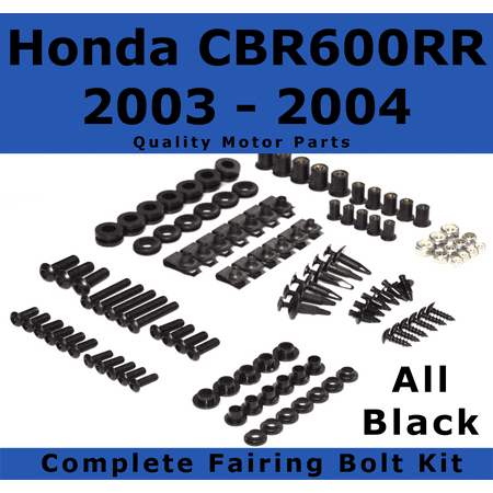 - Complete Black Fairing Bolt Kit for Honda CBR600RR 2003 - 2004 body screws fasteners Stainless