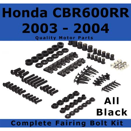 Complete Black Fairing Bolt Kit for Honda CBR600RR 2003 - 2004 body screws fasteners Stainless