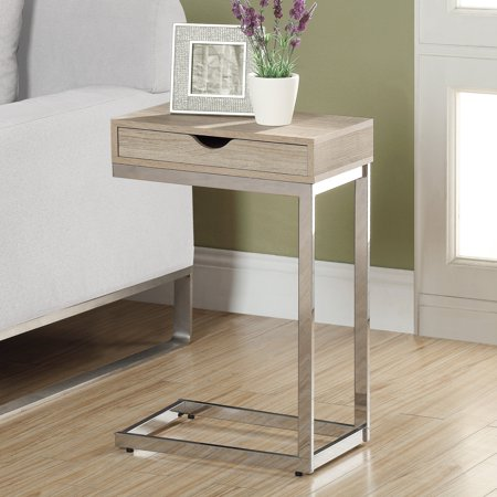 ACCENT TABLE - CHROME METAL / NATURAL WITH A DRAWER ()