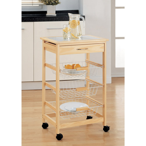 Neu Home Kitchen Cart with 3 Baskets, Pine by Organize It All