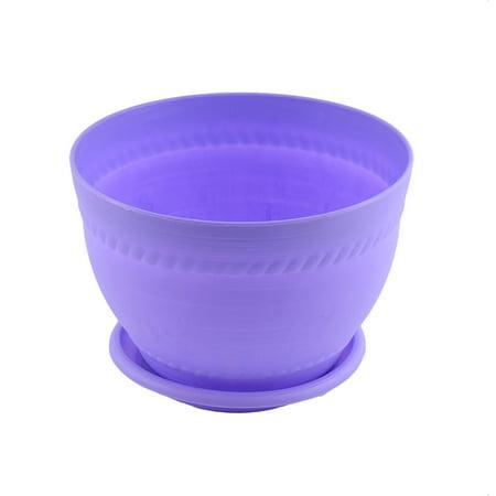 Purple Pottery - Unique Bargains Balcony Home Office Plastic Pottery Clay Style Plant Flower Pot Purple w Pallet