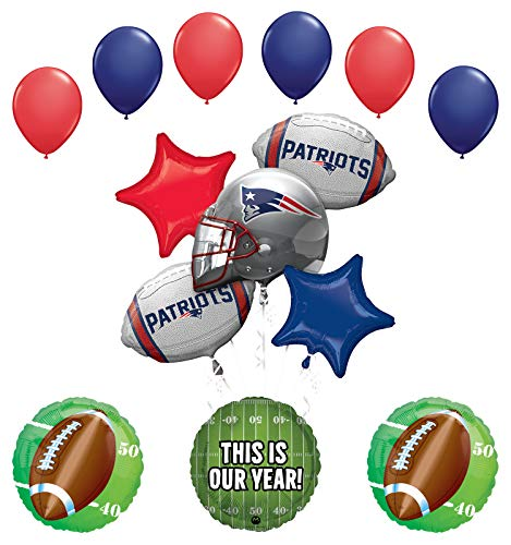 Mayflower Products England Patriots Football Party Supplies This is Our Year Balloon Bouquet Decoration - New England Patriots Decorations