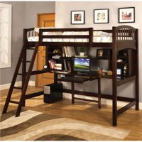 Furniture of America  Fila Modern Espresso Twin Loft Bed w/ Workstation