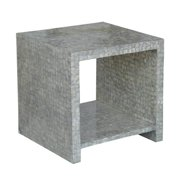 Crafted Home's  Aiden Cube Side Table in Silver