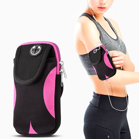 Mobile Phone Case Bag - Insten Universal Adjustable Gym Sports Workout Armband Bag Phone Holder Case Cell Phone Pouch Pocket for Running Jogging Hiking Climbing Cycling Camping - Black/Pink