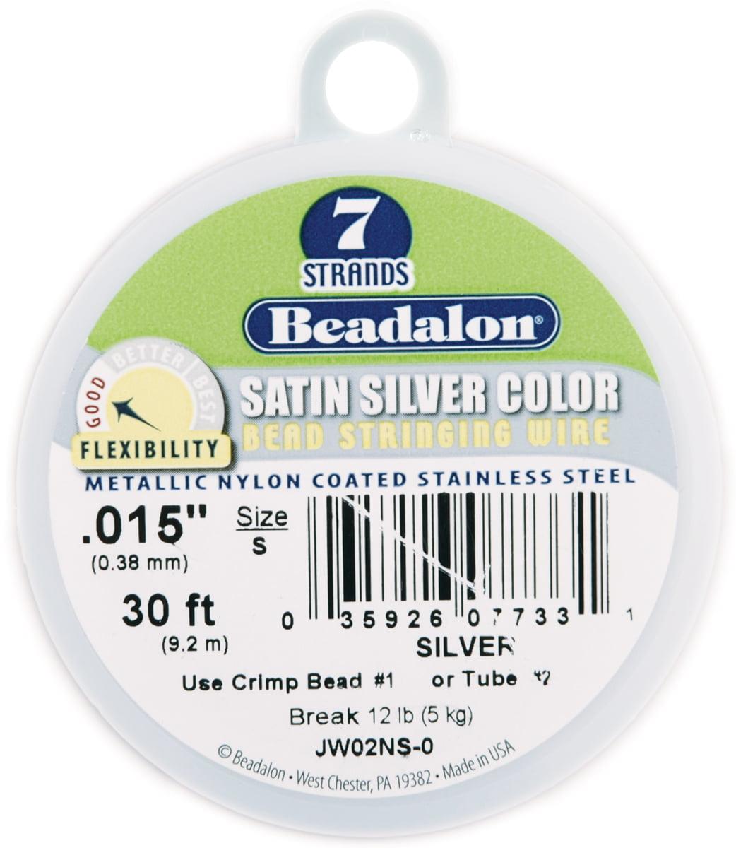 "30 Foot Spool Beadalon 7 Strand SILVER .015/"" Diameter Bead Stringing WIRE"