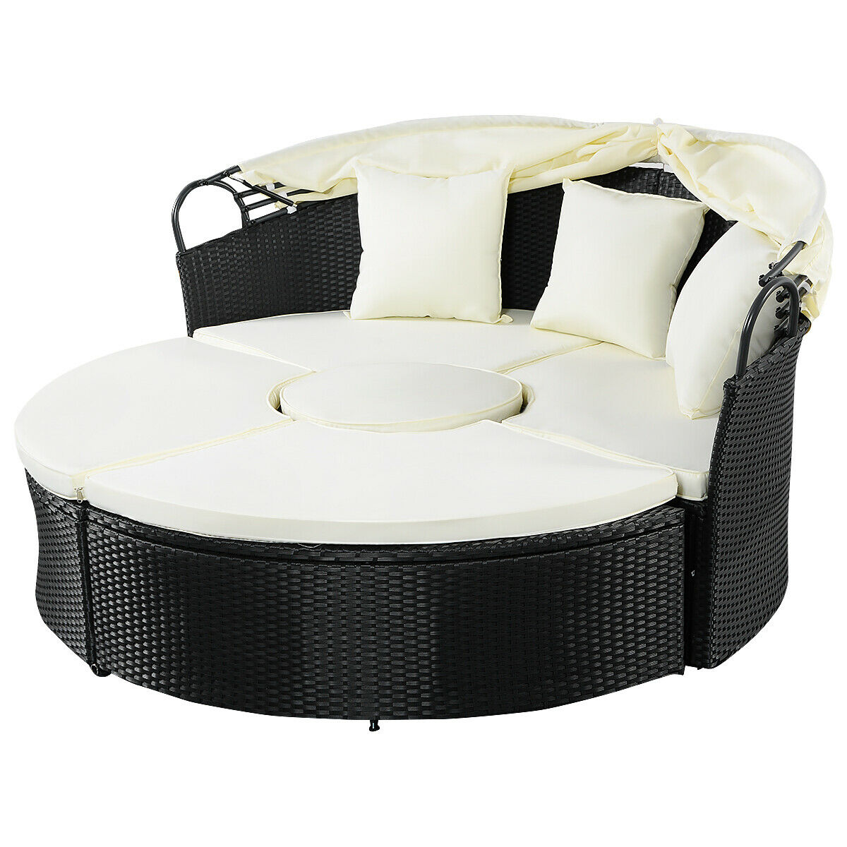 Gymax Rattan Wicker Round Retractable Canopy Daybed Sofa Furniture Set Outdoor Patio - image 3 of 9