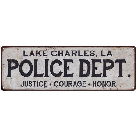 LAKE CHARLES, LA POLICE DEPT. Home Decor Metal Sign Gift 8x24 108240012438 ()