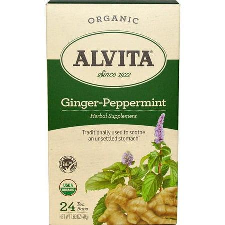 Alvita Ginger Root Tea (3 Pack - Alvita Ginger Peppermint Tea Bags-Organic  24 ea )