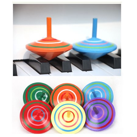 Mosunx Novelty Wooden Colorful Spinning Top Kids Wood Children's Party - Wooden Spinning Tops