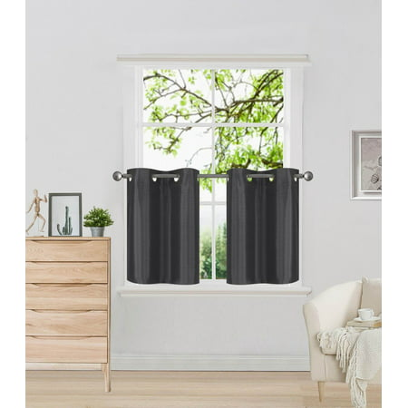 D2 Charcoal 1-Pair of Solid Insulated  Grommet Treatment Curtains Panels 30