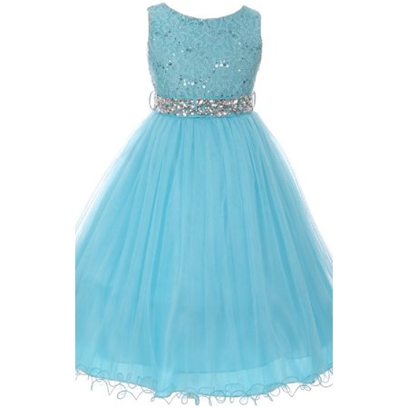 Lace Decorated Sequins Rhinestone Belt Bridesmaid Flower Girls Dresses Turquoise Size - Turquoise Lace Dress
