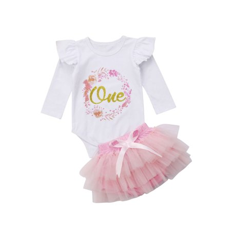 Baby Girl 1st Birthday Outfit One Year Party Cake Smash Tutu Skirt Clothes Set - Baby Girl First Birthday Party Supplies