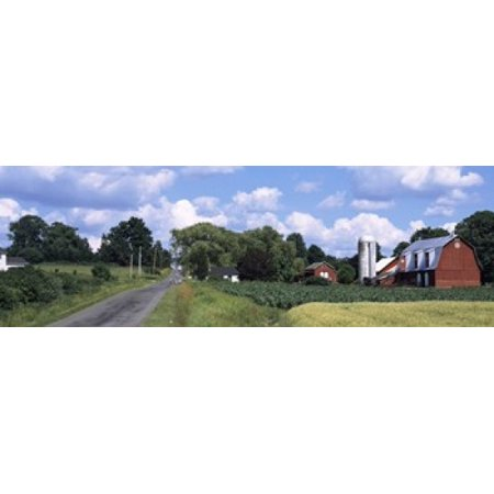 Road Passing Through A Farm Emmons Road Tompkins County Finger Lakes Region New York State Usa Canvas Art   Panoramic Images  36 X 12