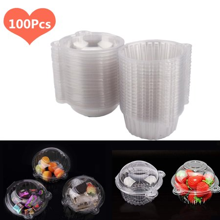 Yosoo 100Pcs Stackable Cupcake Boxes - Clear Plastic Dome Carrier - Individual Cupcake Holder 4.41*3.14 inch - for Sandwich Hamburgers Fruit Salad Party Favor Cake Holder Muffin Case Cups Pod](Sandwich Platter Containers)
