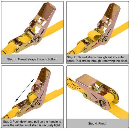 9M x 25mm Ratchet Tie Down Strap Cargo Lashing Straps Up to 250Kg, Yellow - image 2 de 5