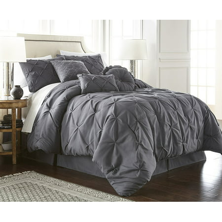 Toile King Comforter - Chezmoi Collection Sydney 7-Piece Pintuck Pinched Pleated Comforter Set