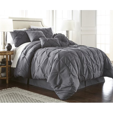 Chezmoi Collection Sydney 7-Piece Pintuck Pinched Pleated Comforter Set (Oversize Comforter Set)