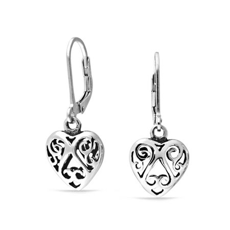 - Open Heart Shaped Filigree Swirl Leverback Dangle Earrings For Women Girlfriend Oxidized 925 Sterling Silver