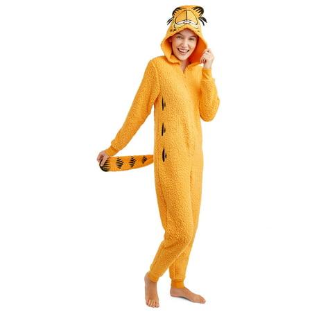 Garfield Women's and Women's Plus Sherpa Union Suit - Halloween Underwear Womens