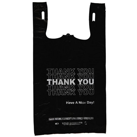 Plastic Bag- Economy 'Thank You' Silver Print Black T Shirt Bag 11.5