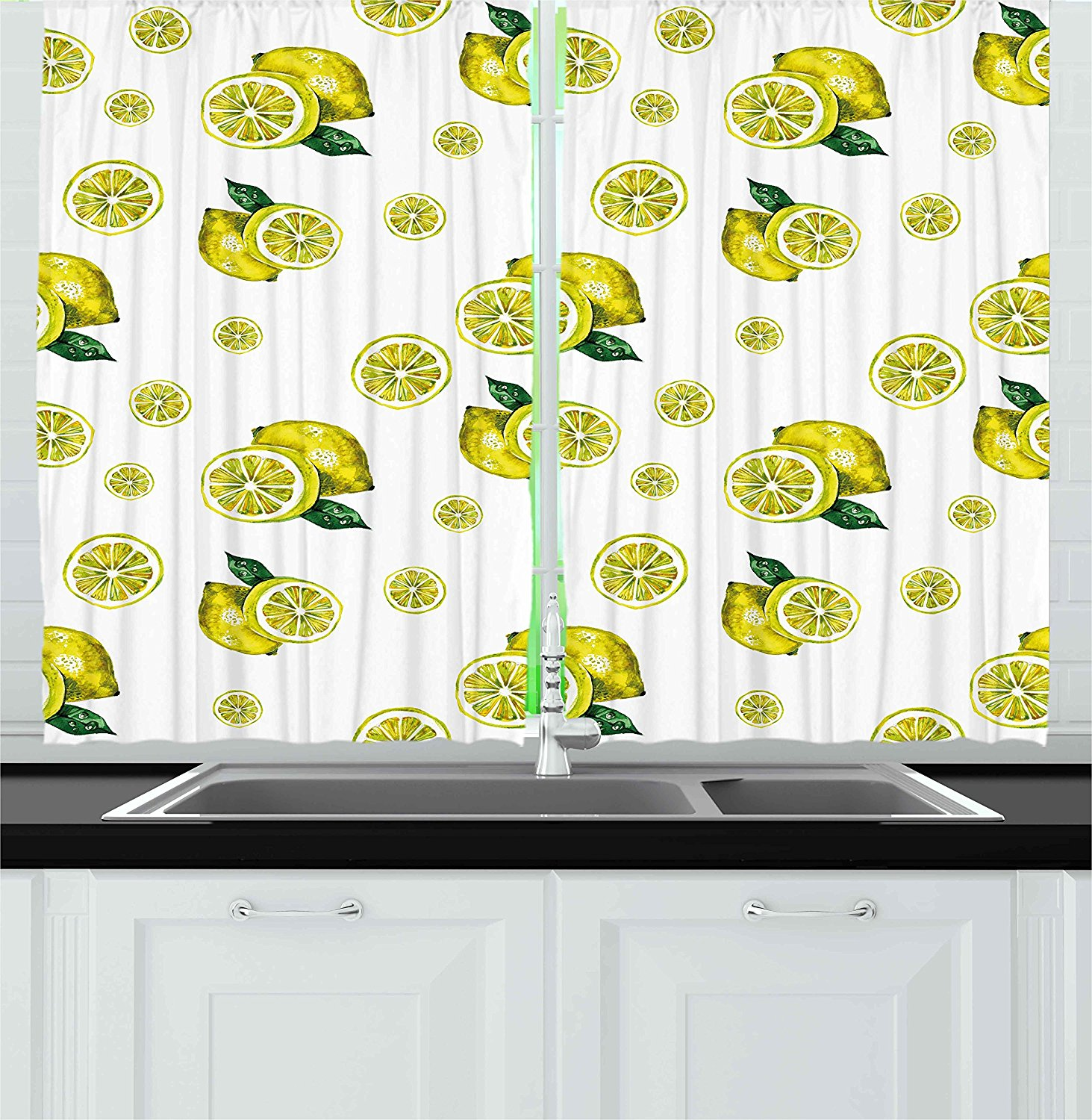 Modern Kitchen Curtains By Lemon Figures With Slices And Leaves Summer Season Fresh Fruit Watercolor Window Drapes 2 Panels Set For Kitchen By Ambesonne Walmart Com Walmart Com