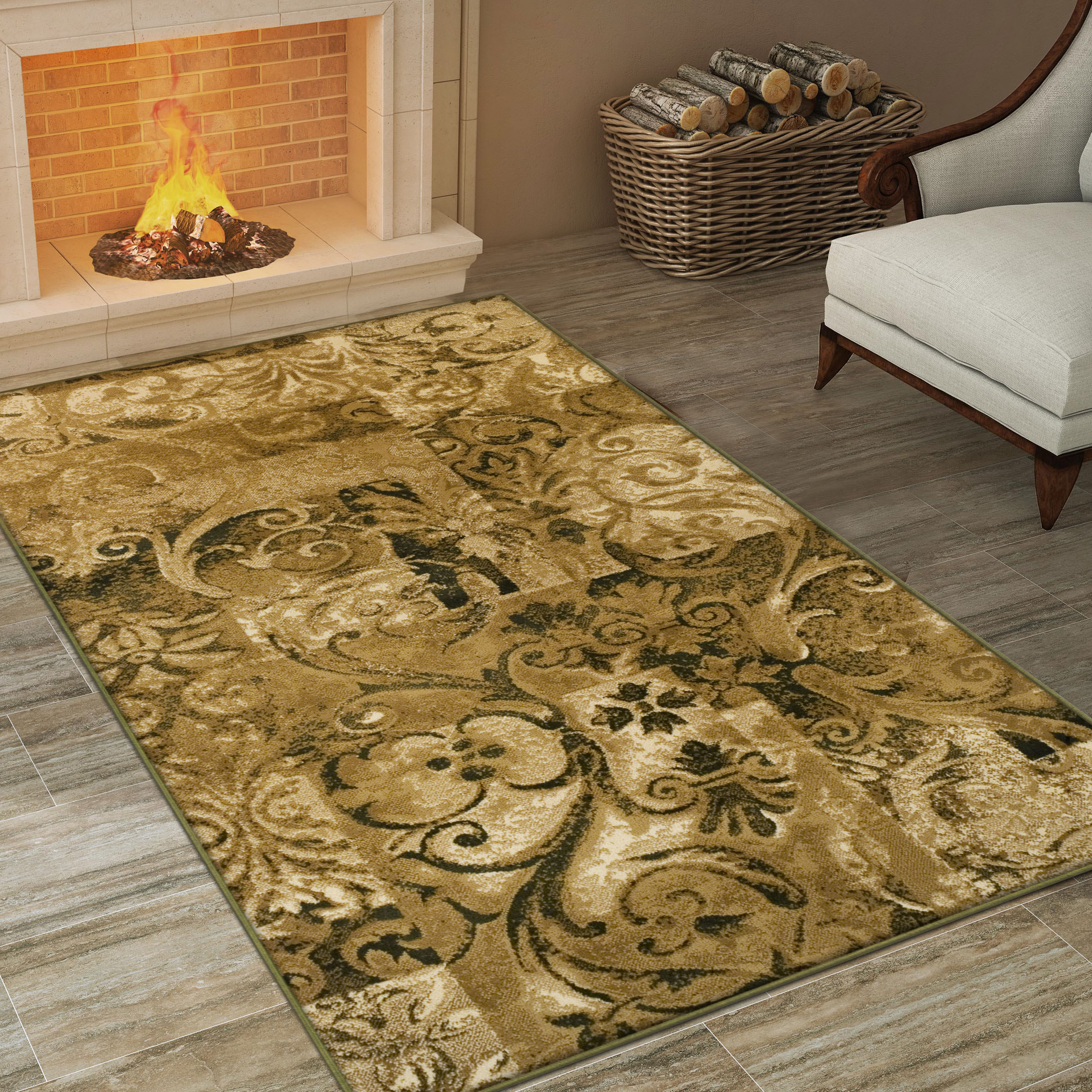 Superior Elegant Scrolling Patchwork Design, 10mm Pile with Jute Backing, Affordable Contemporary Modern Scroll Collection Area Rug, Beige