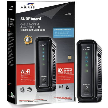 ARRIS SURFboard DOCSIS 3.0 Cable Modem and Wi-Fi Router SBG6580-2 with Wireless (Arris Touchstone Telephony Wireless Gateway Modem Tg852g Ncs)