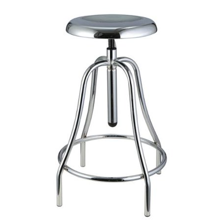 - Robert Adjustable and Swivel Iron Chrome Bar Stool