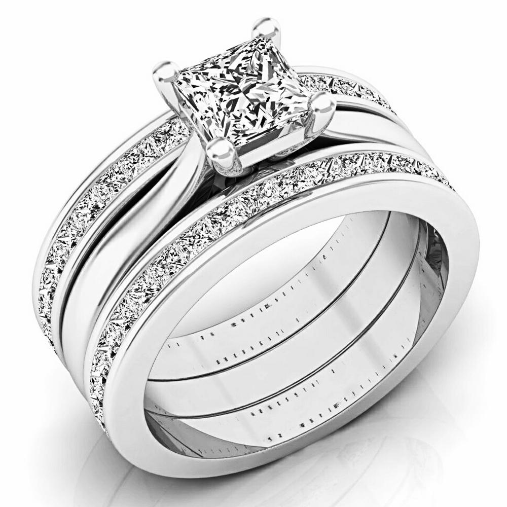 2.05 Carat (ctw) 18K White Gold Princess Cut White Diamond Ladies Bridal Engagement Ring Matching Band Set 2 CT