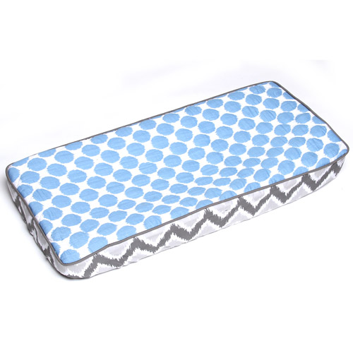 Bacati Ikat Muslin Fabric Changing Pad Cover, Zigzag Blue Dots