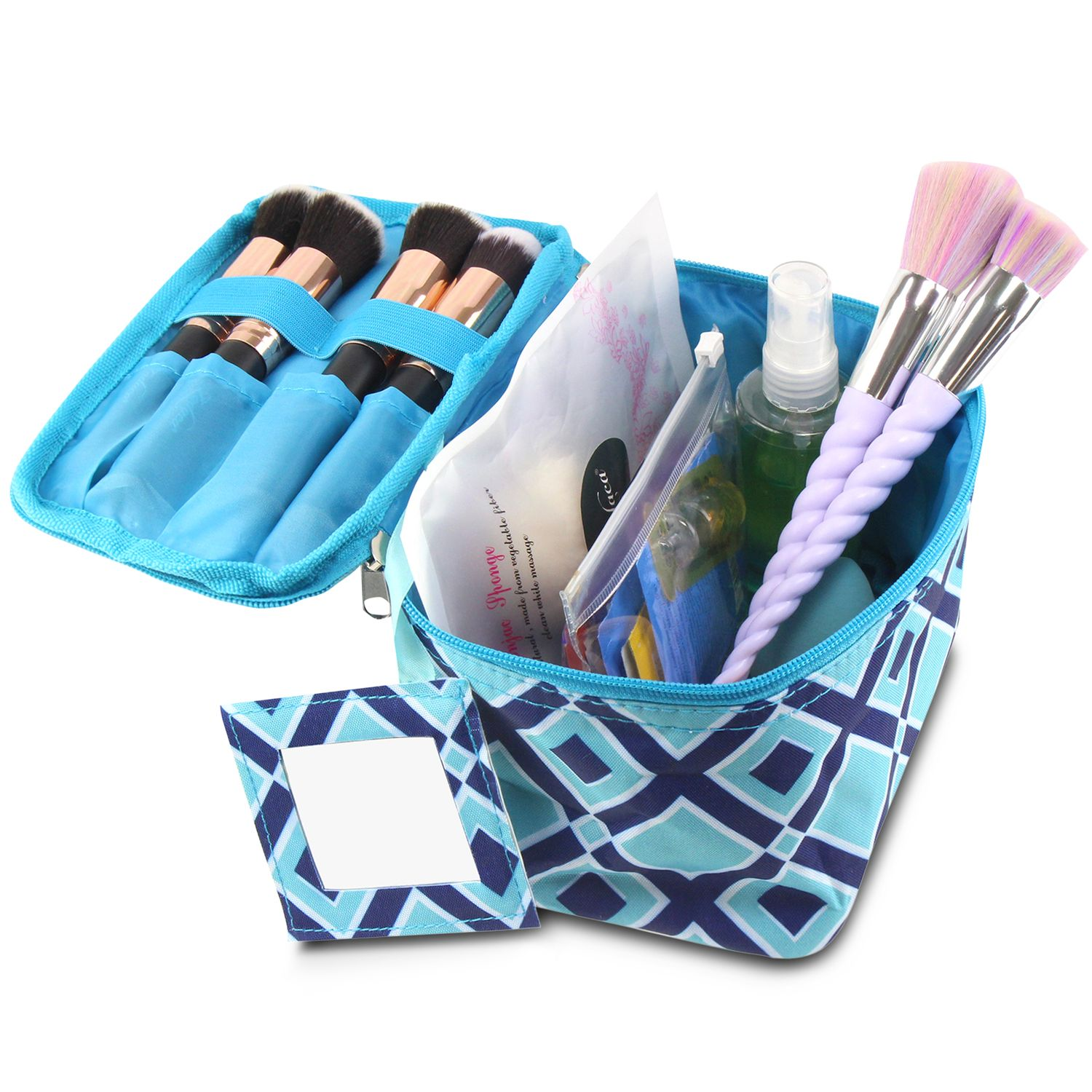 Small Cosmetic Makeup Carry Bag with Mirror by Zodaca Compact Toiletry Organizer for Business Trip Travel Camping Hiking - Blue Times Square