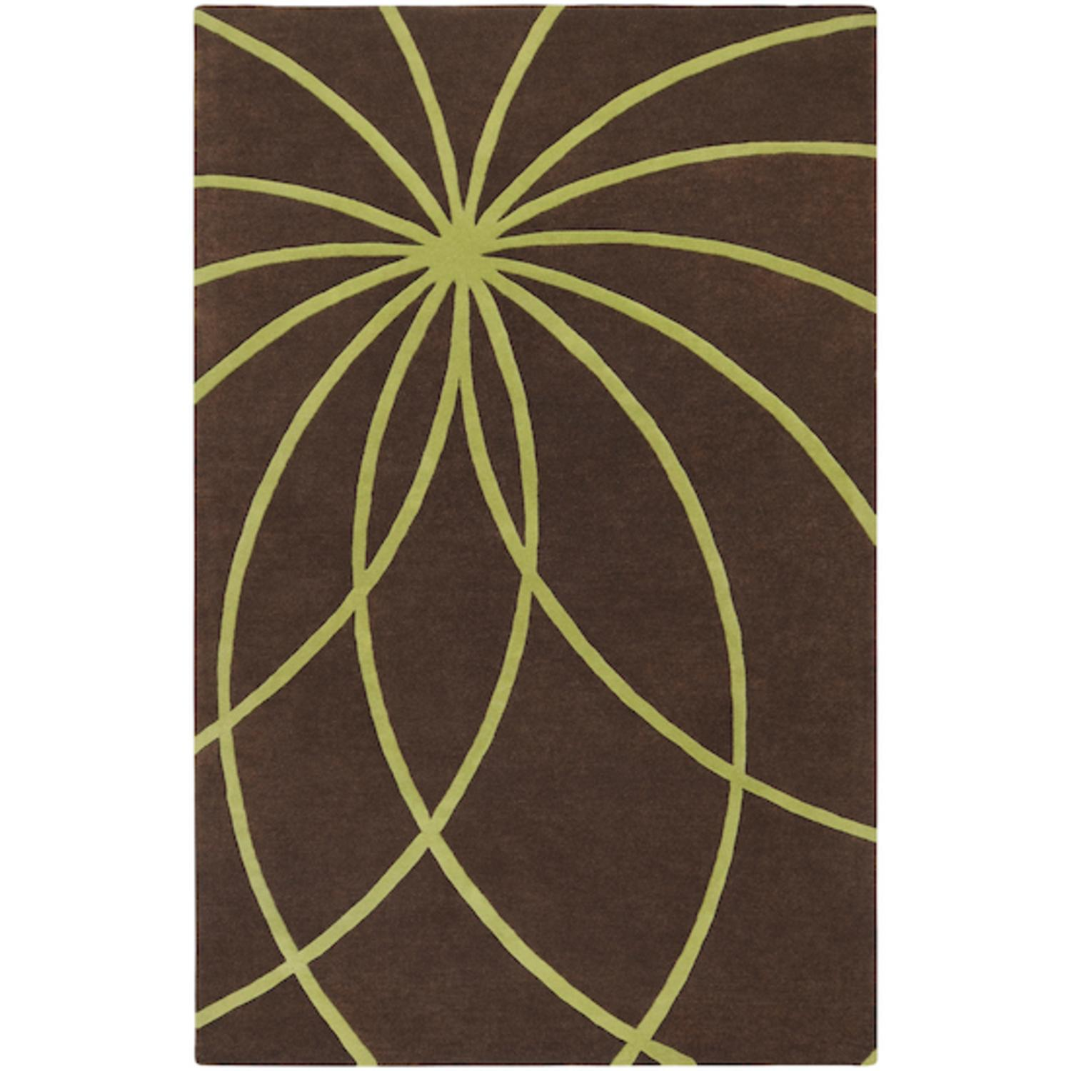 9' x 12' Plasma Elektra Contemporary Moss Green and Brown Wool Area Throw Rug