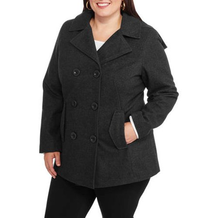 780360267f Faded Glory - Women s Plus-Size Double-Breasted Faux Wool Peacoat with Hood  - Walmart.com