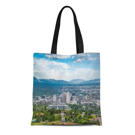 SIDONKU Canvas Tote Bag Green View of Salt Lake City Utah on Sunny Durable Reusable Shopping Shoulder Grocery Bag