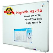 "Lockways Magnetic Whiteboard Dry Erase White Board, 48"" x 36"", Silver Aluminium Frame"