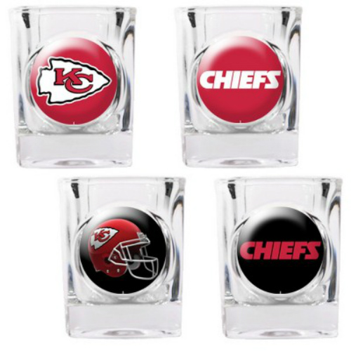 Great American Products Kansas City Chiefs Shot Glass Set 4pc Collectors Shot Glass Set