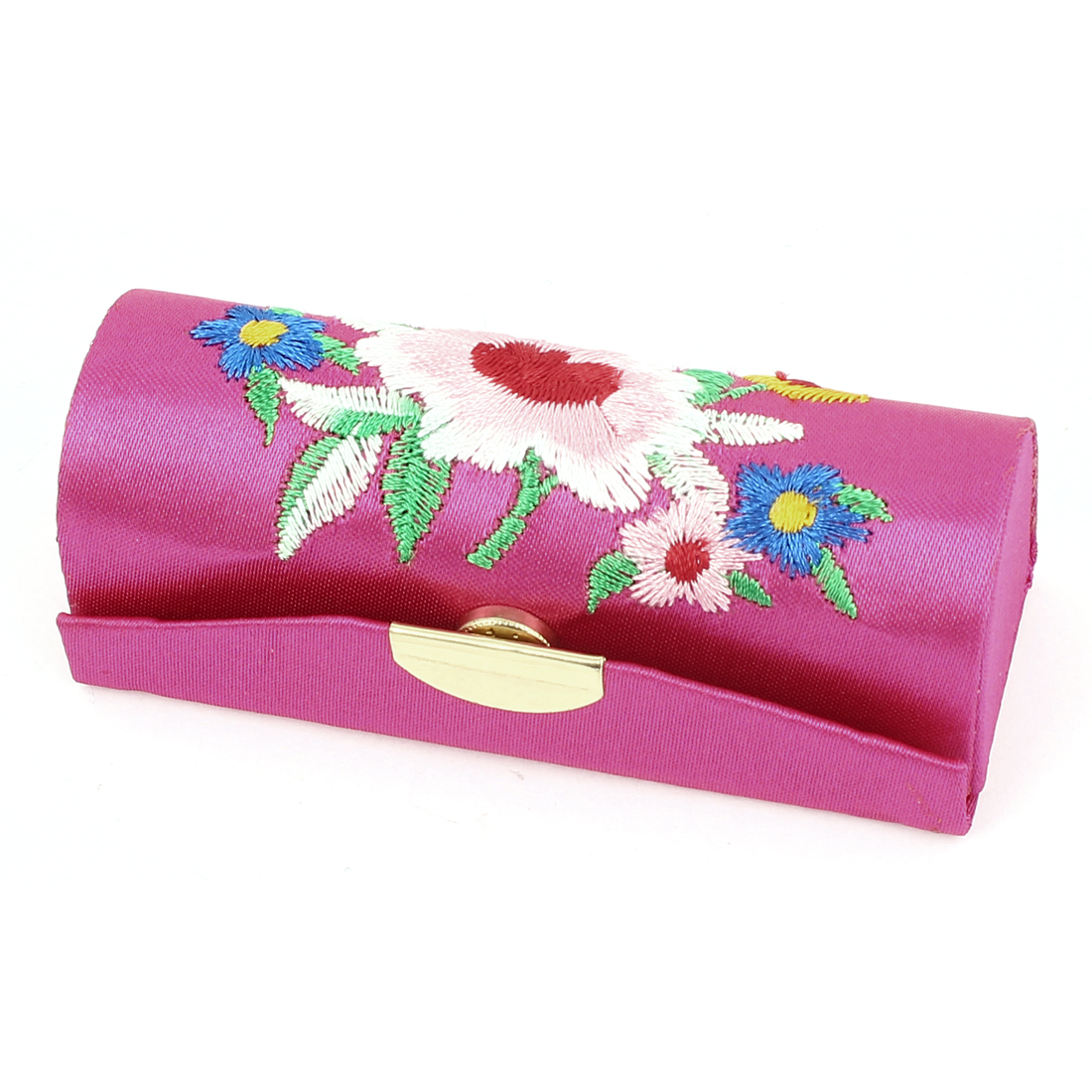 Women Floral Embroidery Lipstick Lip Balm Chap Stick Case Jewelry Holder Magenta