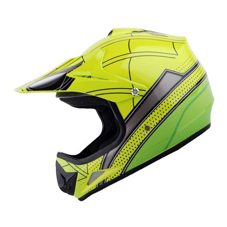 WOW Youth Kids Motocross BMX MX ATV Dirt Bike Helmet Spider Green HJOY