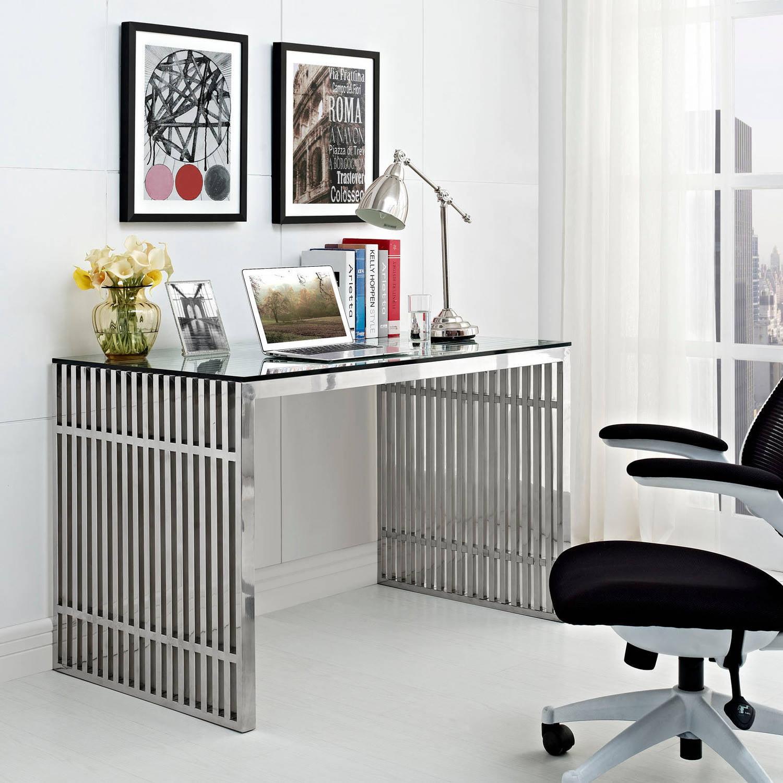 Modway Gridiron Stainless Steel Desk Walmart Com