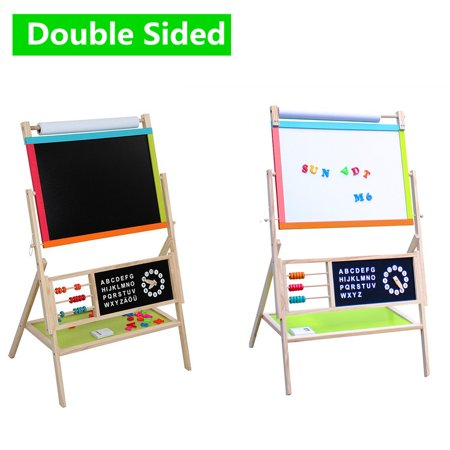 3 in 1 Wooden Easel for Kids, Double Sided Magnetic Black/White Board Toddler Art Easel Adjustable with Paper Roll and (Double Adjustable Easel)