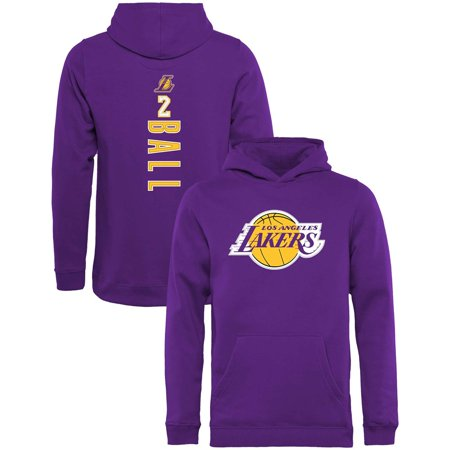 cdeb497bc Lonzo Ball Los Angeles Lakers Fanatics Branded Youth Backer Name   Number  Pullover Hoodie - Purple - Walmart.com